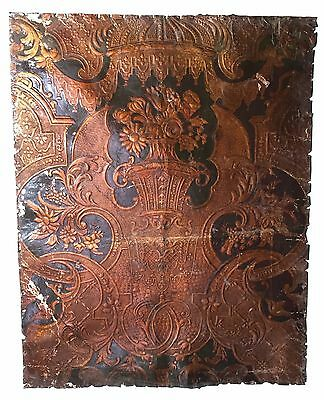 17th century embossed leather panel