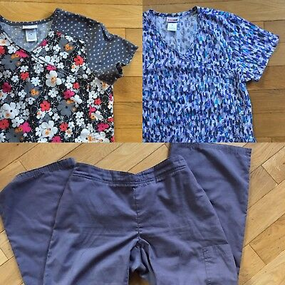 Scrub Star Scrub Top Tops With FREE PANTS  Bundle Lot Floral Pink Grey