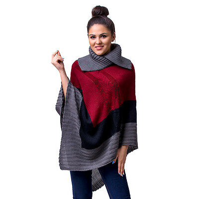 Womens Ladies Poncho Sweater Stylish Knit Warm Trendy High Neck Jumper Cape