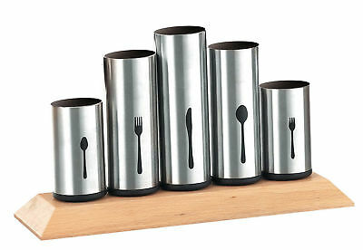 Cutlery Holder Set w 5 Brackets Sturdy Solid Pipes Stainless Steel & Wood