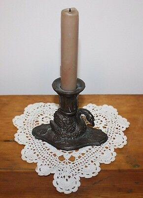 Vintage Ornate Solid Brass/Bronze SWAN W/LILY PADS Single Candle Stick Holder