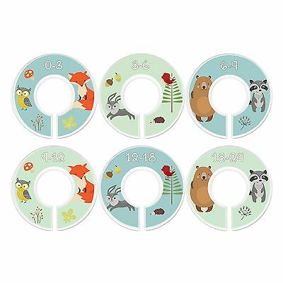 Baby Closet Dividers, Fox  Friends, Set of 6 Size Organizers
