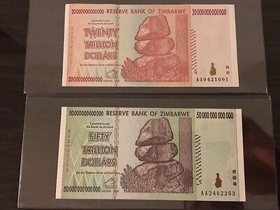 20 & 50 TRILLION ZIMBABWE DOLLAR MONEY CURRENCY.UNC* USA SELLER * 2pc  Total
