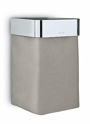 Blomus Nexio Towel Basket Taupe Cloth W Polished Gloss Stainless Steel Accent