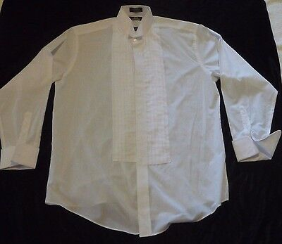 NWOT Stafford Formal Wear Men White Pleated Tuxedo Shirt French Cuffs 16.5 34-35