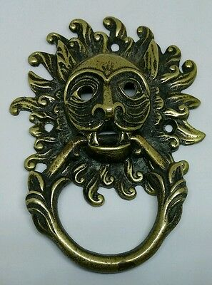 Unusual Brass Antique Lion Head Door Knocker