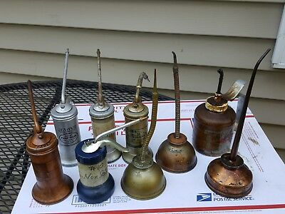 Lot of 9 Vintage Oiler Thumb and Pump Cans, Eagle, Plew