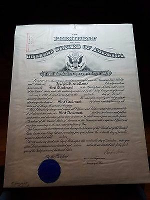 Philippine Scouts PRESIDENT Woodrow Wilson SIGNED APPOINTMENT / COMMISSION 1916