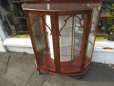 vintage 1930s bow fronted china cabinet-good condition-shabby chic-vintage
