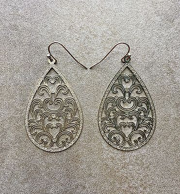Vintage Victorian Gothic Revival Style Teardrop Pear Shape Silver Tone Earrings