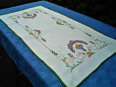Vintage Genuine Linen Embroidered Runner, Perfect Micro-Cross Stitch Italian