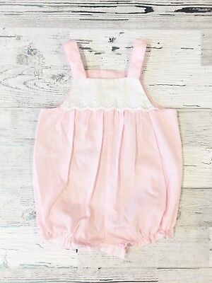 Sweet Vintage Bubble Gum Pink Romper with White Eyelet Lace and Ruffles