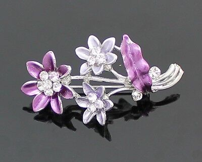 Purple Crystal Flower Bouquet Silver Plated Ladies Girls Dress Brooch Pin Badge
