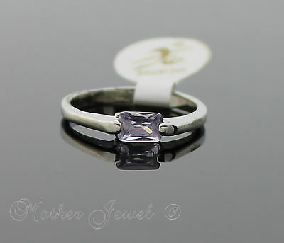 Rectangle Purple Lavender Silver Plated Womens Girls Ladies Ring Size 6.5 Small