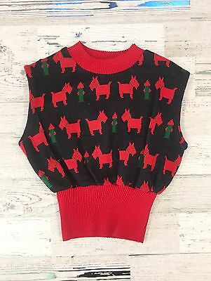 Vintage Girls Scottie Dog And Fire Hydrant Sleeveless Sweater Size 5