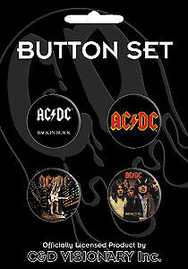 Button - AC/DC - Assorted Logo Set of 4 Pin Pack Toys New