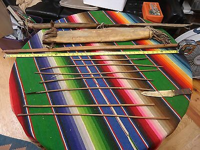 Rare Vintage Native American Indian Quiver With Bow & Arrows And Bone Knife