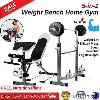 Multi Station Home Gym Weight Bench Press Leg Equipment Set Fitness Exercise New