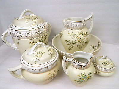 6pc Antique Haynes Baltimore Pottery Toulon Victorian Wash Basin Chamber Pot Set