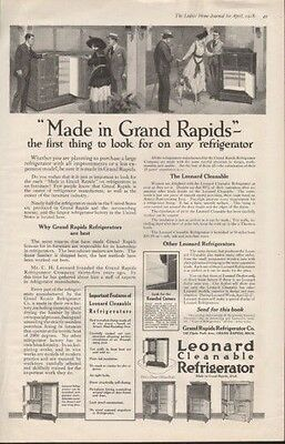 1918 Leonard Clean Refrigerator Grand Rapids Couple Ad 9583