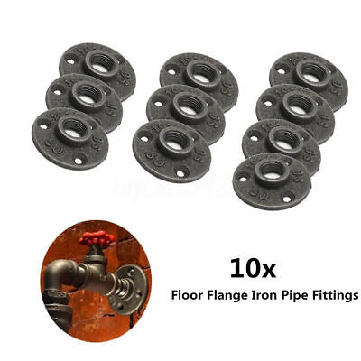 10x 3/4'' Black Malleable Threaded Floor Flange Wall Mounted Iron Pipe Fittings