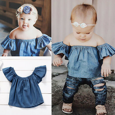 AU Toddler Baby 0-4Y Girls Kids Casual Shirt Demin Tops T-Shirt Blouse Clothes