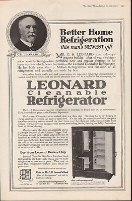 1919 Leonard Ice Box Cabinet Refrigerator Porcelain Kitchen Decor Home 21119