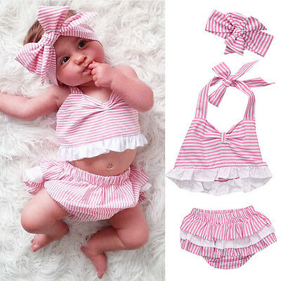 AU Stock Infant Baby Girls Outfit Clothes Romper T-shirt Tops+Pants+Headband Set
