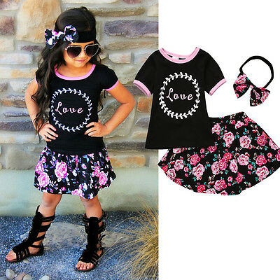 AU Flower Toddler Kids Baby Girls T-shirt Tops+Skirt Dress Outfits Set Clothes