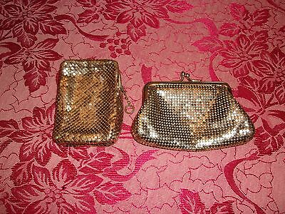 Lot 2 Vintage Whiting & Davis Gold Mesh Kiss Lock Coin Purse & Cigarette Case