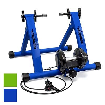 """Indoor Bicycle Resistance Trainer Cycling 6 Gears 26-28"""" 2 Colours Blue/Green"""