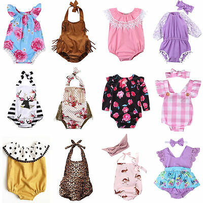 AU Stock Infant Baby Girl Floral Romper Bodysuit Jumpsuit Outfit Sunsuit Clothes