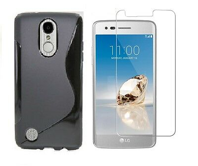 Black S-Line Tpu Case+Clear Tempered Glass Protector For At&t Lg Phoenix 3