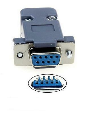 9 Pin Female D-Sub Socket Solder Connector RS232 Serial DB9 and Grey Hood WF