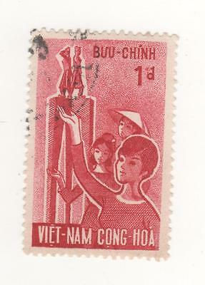 1963 South VIETNAM 1p. RED WOMEN'S DAY postage stamp SG#S184 USED