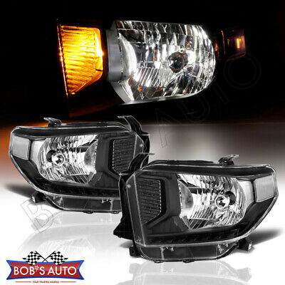 For 14-15 Toyota Tundra SR SR5 Sport Black Clear Headlights Assembly Left Right
