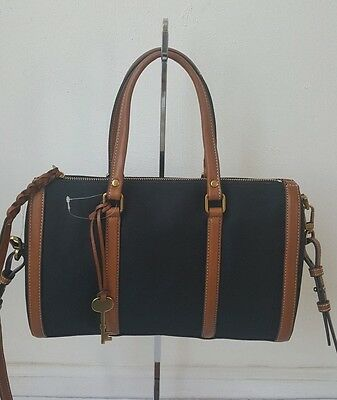 Nwt Fossil Zb7107001 Kendall Satchel Black Msrp $168
