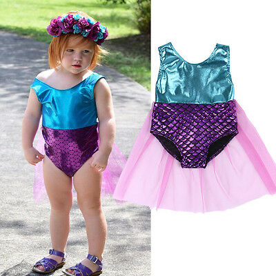 AU Baby Toddler Kids Girls Mermaid Bikini Swimwear Swimsuit Bathing Beachwear YI