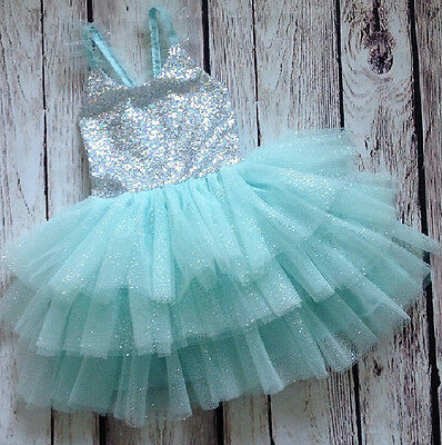 AU Stock Girl Kids Baby Flower Princess Party Sequins Wedding Tulle Tutu Dresses