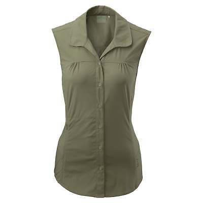 Kathmandu Jeema Womens Lightweight Button Top Sleeveless Hiking Shirt Green
