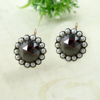 Round facetted garnet earrings with seed pearls in Victorian style / OXERBTP7#PK