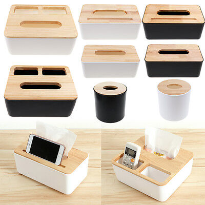 Wooden Cover Tissue Box Holder Paper Napkin Case Home Room Hotel Office Square