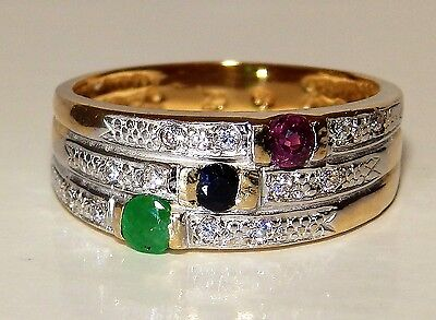 A Fine 9Ct Yellow Gold Emerald Sapphire Ruby Bar  Cluster  Ring L 1/2