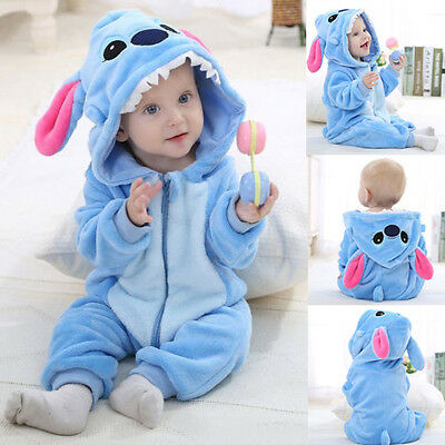 Unisex Baby Toddler Sleepwear Costume Flannel Romper Outfits Animal Jumpsuit