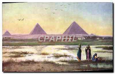 CPA Egypt Egypte Pyramids of Ghizeh Evening