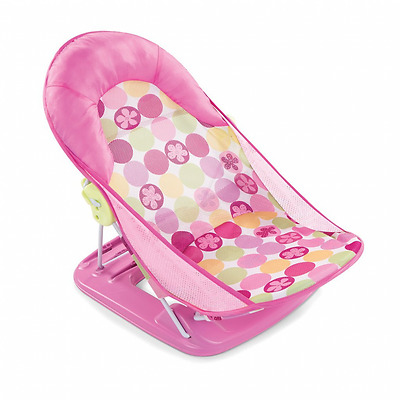 Summer Deluxe Baby Bather Infant Bakrest Support Washing Wash Circle Daisy Pink