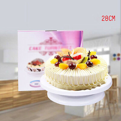 28CM Rotating Revolving Cake Plate Decorating Turntable Kitchen Display Stand
