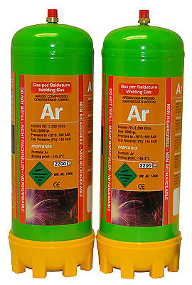 2 x Argon gas bottle 220ltr for mig/tig welding disposable cylinder