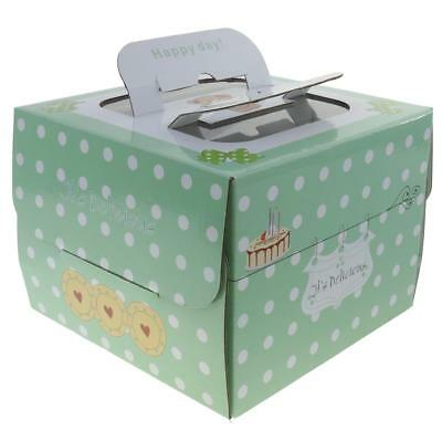 10xWhite Dots on Green Cake Cupcake Boxes Bakery Box with Window Handle 6in/8in