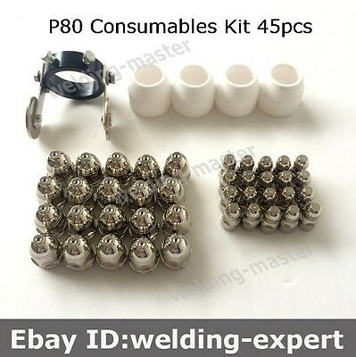 P80 Electrode Nozzle 1.5 Shroud Guide Wheel Spacer Kit 45pcs LGK63 LGK80 LGK100